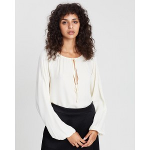 Theory Gathered Long Sleeve Top Cream Relaxed fit TH185AA41DLU